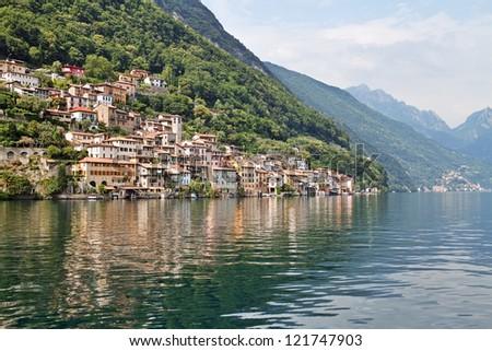 Gandria is lakeside village near Lugano, Ticino Canton, Switzerland. - stock photo