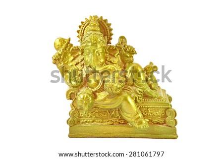 Ganesh  - Elephant - headed god monk isolated on white background - stock photo