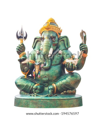 Ganesha statue Hindu god, on white background - stock photo
