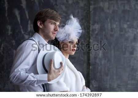 Gangster and the lady in a romantic moment - stock photo