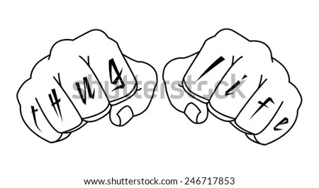 Gangster fists with thug life fingers tattoo. Man hands outlines raster illustration isolated on white  - stock photo