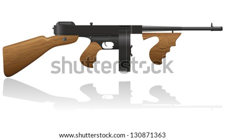 gangster gun illustration isolated on white background - stock photo
