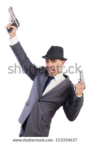 Gangster with guns isolated on white - stock photo