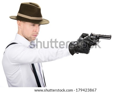 Gangster with guns isolated on white background - stock photo