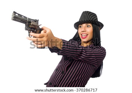 Gangster woman with gun isolated on white - stock photo