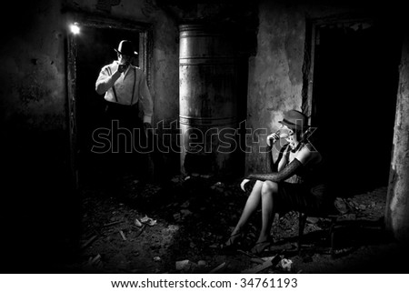 gangsters in the dark house - stock photo