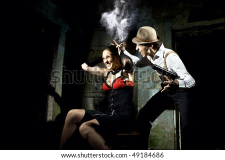 gangsters torture - stock photo