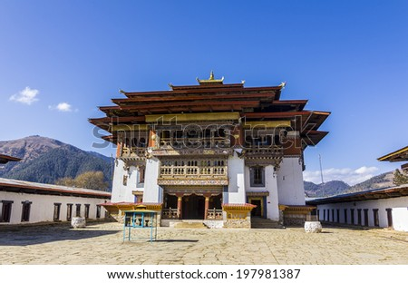 Gangtey monastery is situated in the beautiful Phobjikha valley at a height of 3000m in the moutains of Bhutan. - stock photo