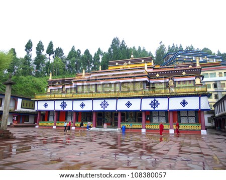 GANGTOK, SIKKIM/ INDIA-JUNE 13: Beautiful Buildings of Rumtek Monastery on June 13, 2012 in Gangtok. Rumtek Monastery is among Sikkim'Â?Â?s most famous monuments. - stock photo