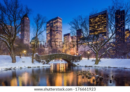 Gapstow bridge in winter, Central Park New York City  - stock photo