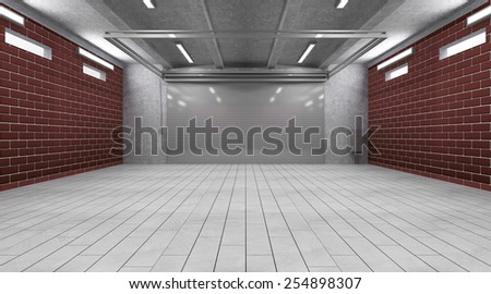 Garage 3D Interior with Closed Roller Door. 3D Rendering - stock photo