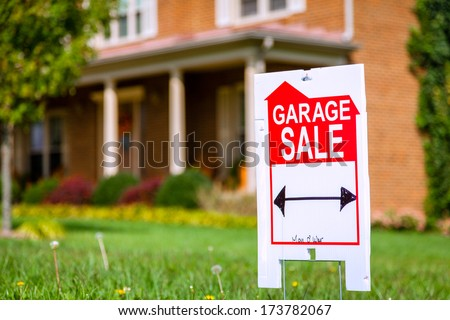 Garage sale sign - stock photo