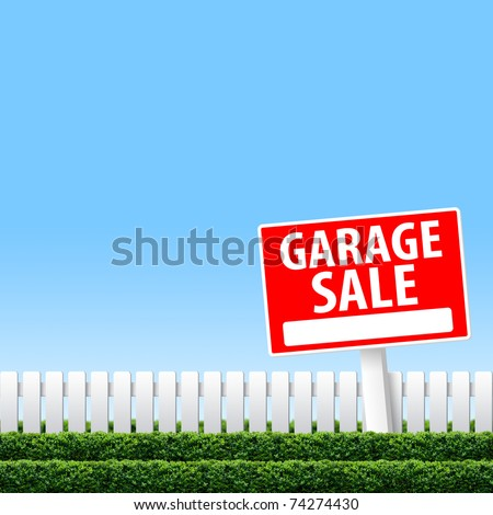Garage Sale sign on white fence and clear sky - stock photo