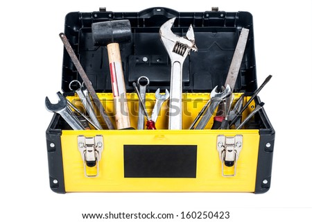 Garage tool box work in isolated - stock photo