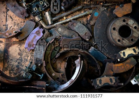 Garages and car parts concept of oil pollution - stock photo