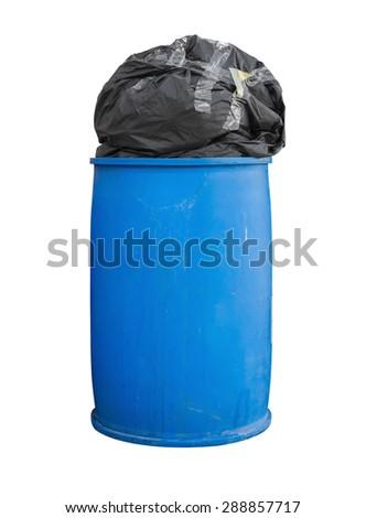 Garbage bag on trash. Trashcan isolated. Trash isolated. Bin isolated. Garbage bag  on bin. Garbage bag isolated. Trash on white background. Bin on white background. Recycle bin. Recycle trash bin. - stock photo