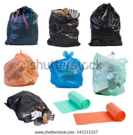 Garbage bags isolated on white background - stock photo