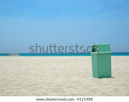 garbage can at Varadero beach in Cuba helping keep the environment clean - stock photo