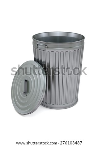 Garbage can isolated on white with clipping path - stock photo