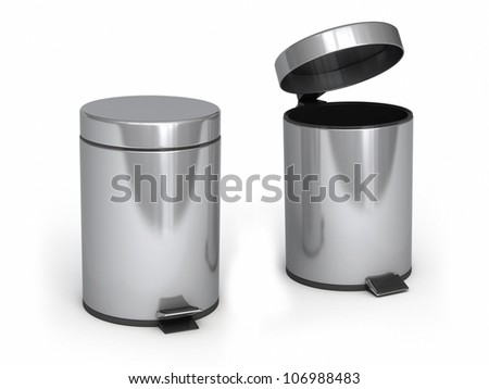Garbage Cans (isolated on white and clipping path) - stock photo