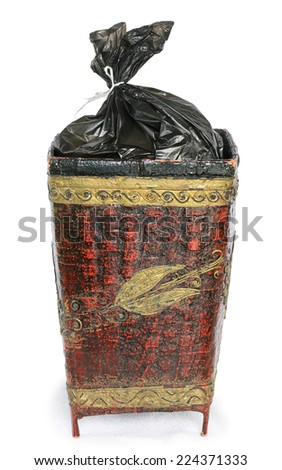 Garbage Cans isolated on white . This has clipping path. - stock photo