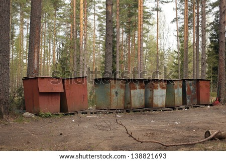 Garbage containers, a horizontal picture - stock photo
