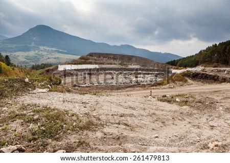 Garbage dump near Ruzomberok, Slovakia - stock photo