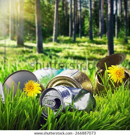 garbage in a clearing in the pine forest. focus on garbage - stock photo