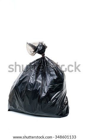 garbage in plastic bag for eliminate on the white background - stock photo