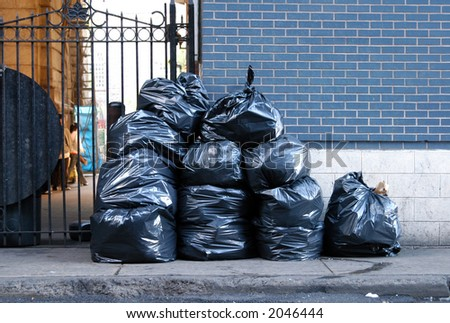 garbage in the street - stock photo
