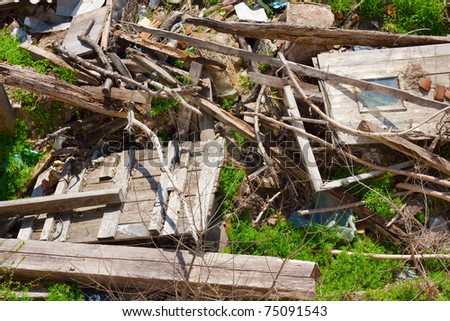 Garbage material from demolished old house - stock photo