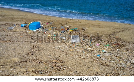 Garbage on the beac - stock photo