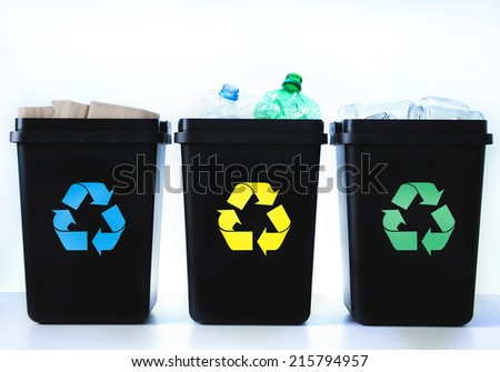 Garbage placed in containers for segregation. - stock photo