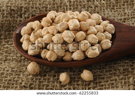 garbanzo bean on spoon - stock photo