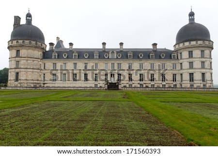 Garden and Castle of Valencay in Loire Valley in France  - stock photo