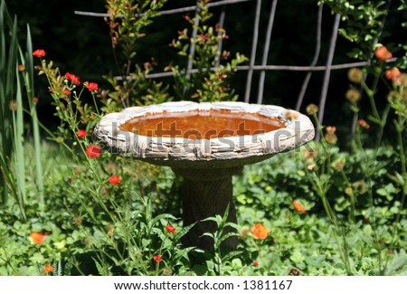 Garden bird fountain. - stock photo