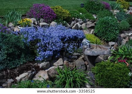 Garden & Birdbath - stock photo