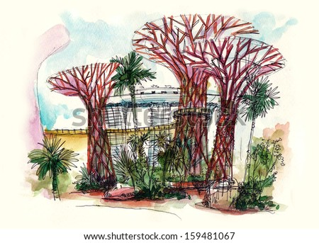garden by the bay super tree at singapore painting - stock photo