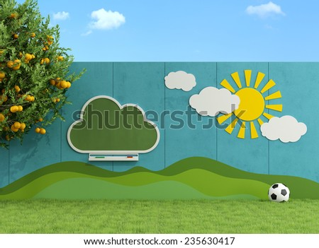 Garden Children with chalkboard, decorations on the wall and ball - 3D Rendering - stock photo