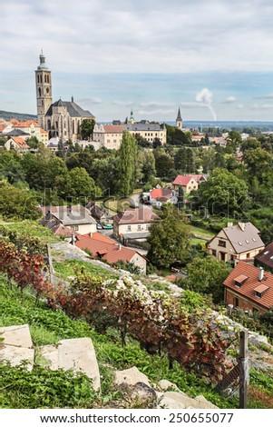 garden city building edifice historical historic bush herb tower turret Czech Republic - stock photo