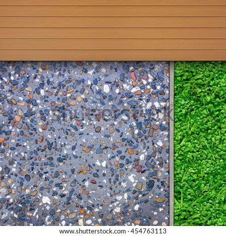 Garden design details, timber and aggregate - stock photo