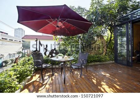 Garden District villa balcony - stock photo
