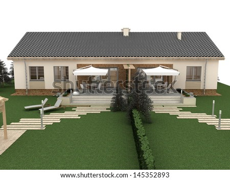 Garden elevation of the house, computer visualization. - stock photo
