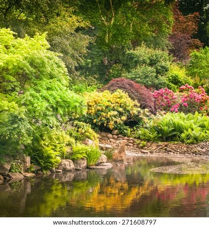 Garden full of the  flowers - stock photo