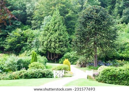 Garden in Castle de Nacqueville (Chateau de Nacqueville), Normandy, France - stock photo
