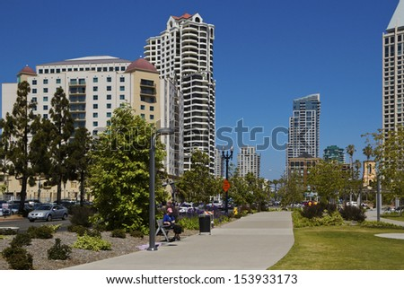 Garden in the downtown a San Diego, California, USA - stock photo