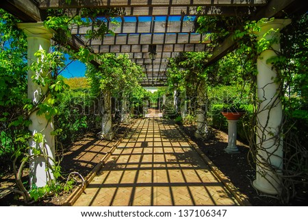 Garden Lattice walkway with stone pavers and vine flowers throughout the trellis work - stock photo