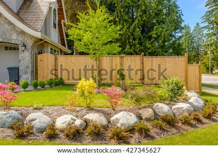Garden of a North American Home in the suburbs. - stock photo