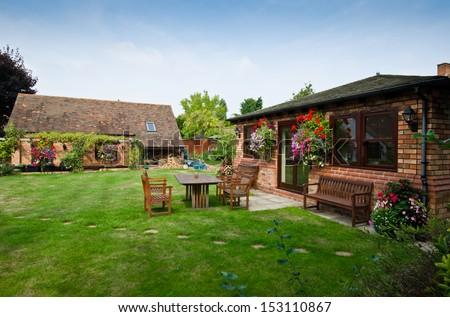garden of english house - stock photo