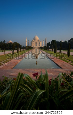 Garden of foreground flowers at empty symmetrical front of Taj Mahal and its mirror image reflection in length of the long water fountain on a clear blue sky in Agra, India. Vertical copy space - stock photo
